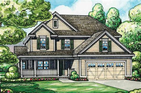 home plan with l shaped front porch 42287db