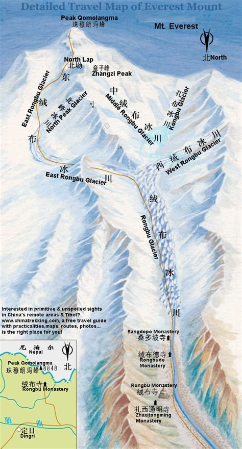 mt everest map map of everest mount qomolangma peak attractions glaciers monasteries