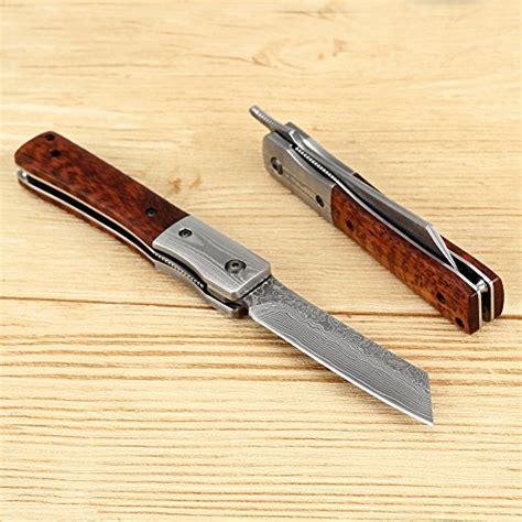 japanese folded steel kitchen knives katsu handmade damascus steel japanese razor pocket folding knife with snake wood handle and