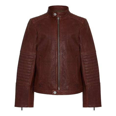 roberto cavalli kids boys brown leather jacket with