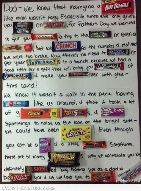Bar Birthday Card Sayings Funny Fathers Day Card With Candy Bars For My Boys