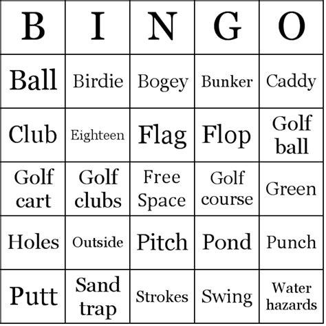 golf punch card template golf bingo cards