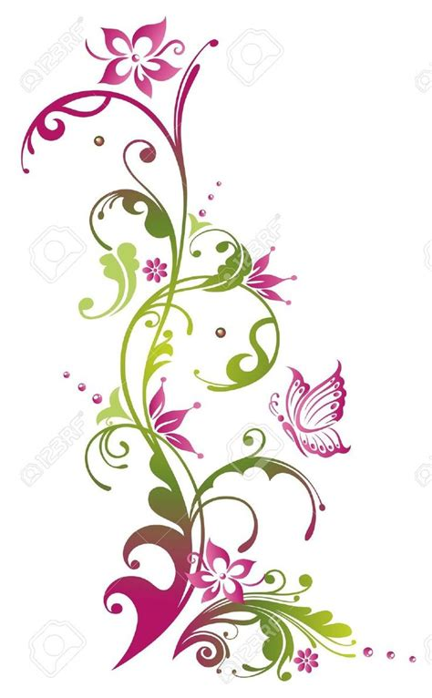 ranken bloemen 21683340 colorful flowers with butterfly green and pink