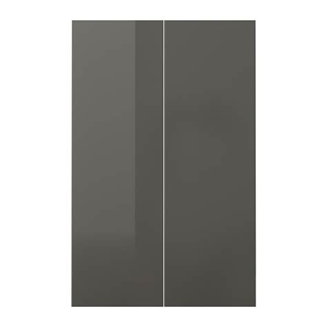 Ikea High Gloss Kitchen Cabinet Doors Ringhult 2 P Door F Corner Base Cabinet Set High Gloss Grey 25x80 Cm Ikea