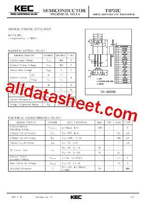transistor tip32c datasheet tip32c datasheet pdf kec korea electronics