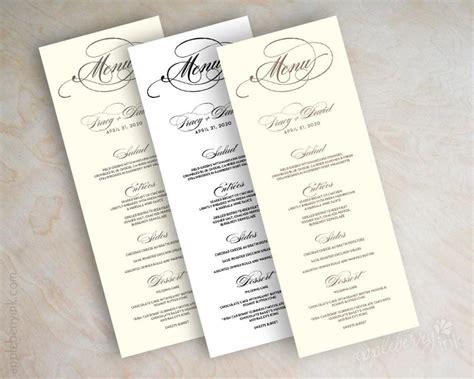 Menu Cards Wedding Reception Templates by Diy Wedding Reception Menu Card Template Diy Do It Your