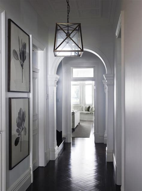 Hallway Foyer parquet wood floors transitional entrance foyer denai kulcsar interiors