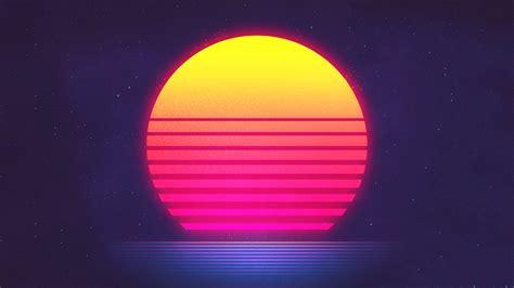 wallpaper sunset retrowave synthwave hd creative