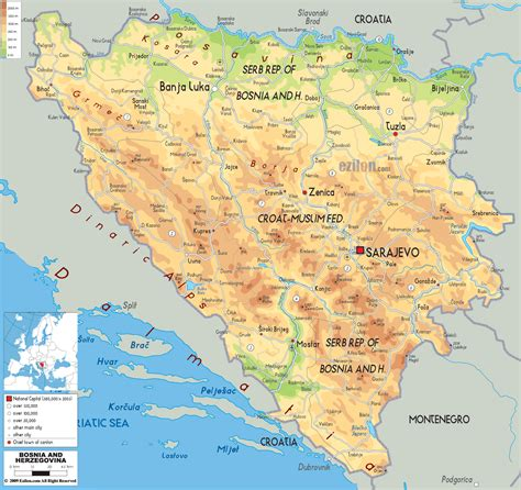 bosnia map physical map of bosnia and herzegovina ezilon maps