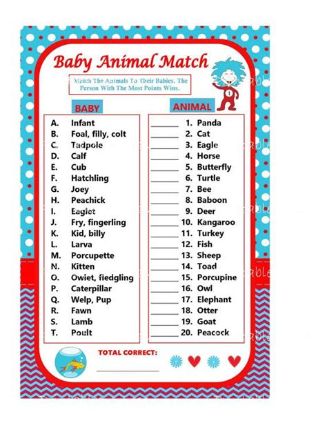 dr seuss baby shower printables dr seuss baby animal match baby animal by