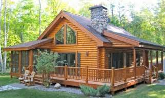 Single Story Cabins Log Cabin Home With Wrap Around Porch Big Log Cabin Homes
