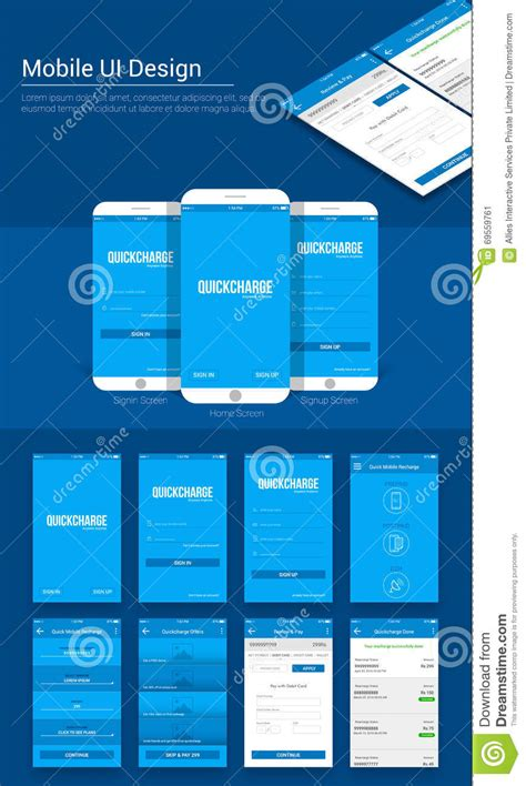 mobile app layout template payment mobile app ui ux and gui template stock