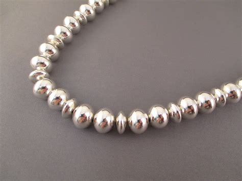 sterling silver navajo pearls bead necklace jewelry by