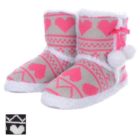 house shoes for girls ladies girls cosy knitted heart design white fluffy pompom ankle bootie slippers ebay