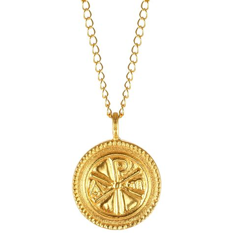 christogram gold pendant necklace the met store