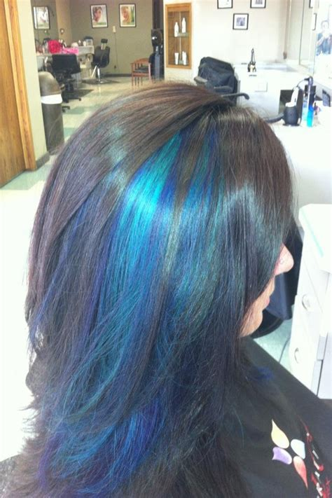 with blue streaks black hair with blue streaks hair
