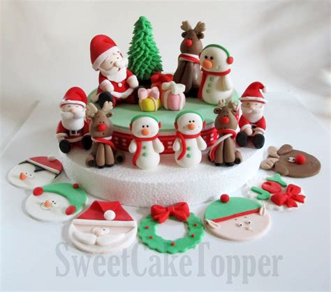 fondant christmas decorations fondant cake topper set edible cake topper 1 set 48 00 via etsy