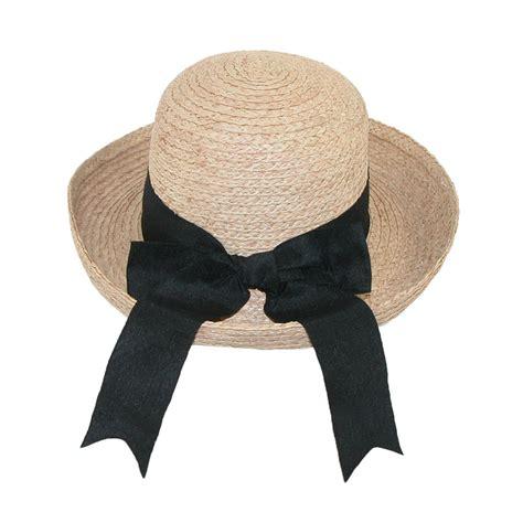 womens raffia straw braided sun hat with black bow by ctm
