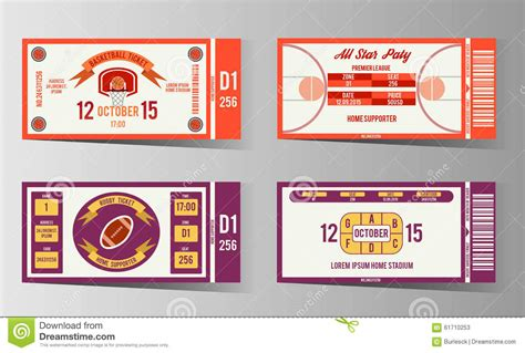 ticket place card template rugby and basketball ticket vector design template stock