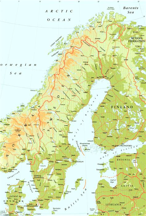 physical map of sweden sweden physical map sweden mappery