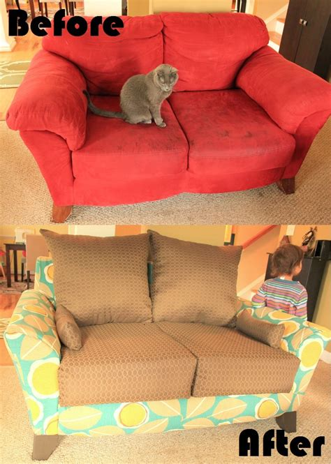 how to reupholster a sofa with attached mandy made lovin my new loveseat totally rad reupholstery