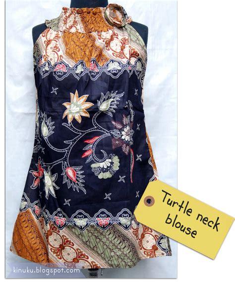 design batik unik kinuku turtle neck batik blouse sold out