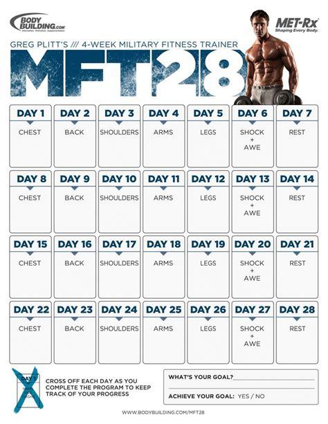 printable workout plan build muscle mft28 greg plitt s 4 week military fitness trainer by met