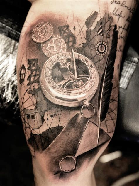 perfect compass tattoo on sleeve