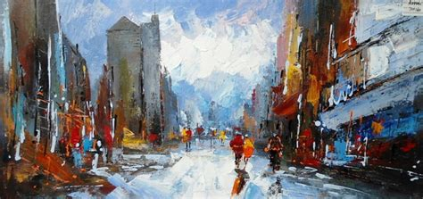 Mirrors For Home Decor modrest abstract city oil painting