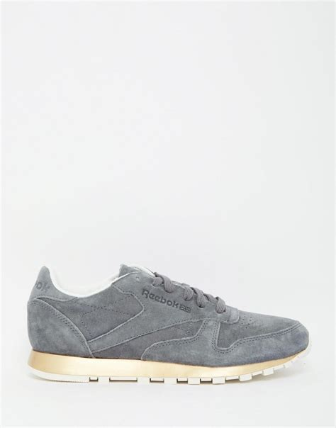 suede sneakers simple reebok classic gray suede sneaker with gold