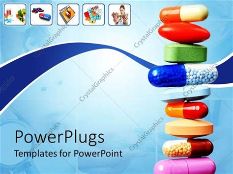 Powerpoint Template Stack Of Various Pills And Capsules On Light Blue With White Background And Free Pharmaceutical Powerpoint Templates