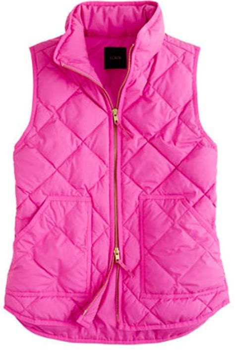 Pink Vest j crew excursion quilted vest in pink electric pink lyst
