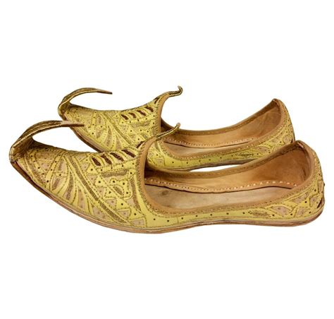 indian beak shoes khussa in golden colour
