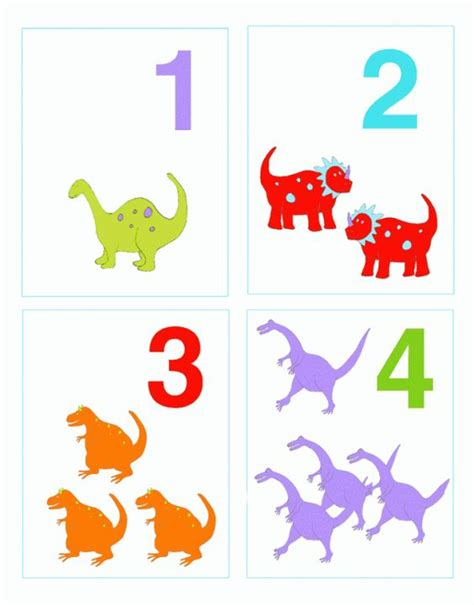 printable dinosaur numbers ziggity number flashcards i activities learning and