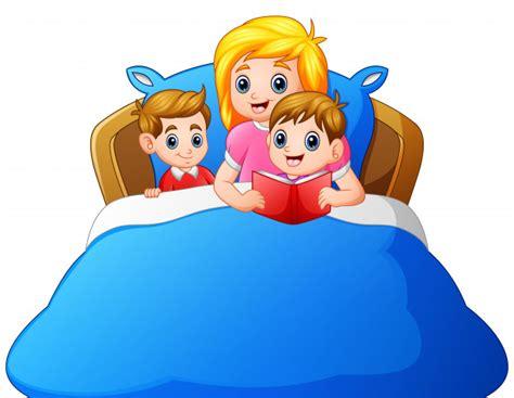 descargar todos a dormir along came a bedtime libro de texto gratis madre de dibujos animados leyendo cuento antes de dormir a su hijo en la cama descargar