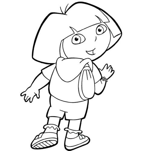 coloring pictures of dora the explorer characters dora and her backpack in dora the explorer coloring page