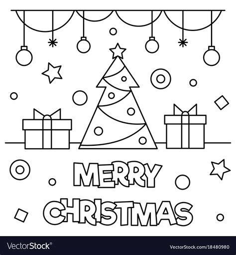 merry christmas coloring page royalty  vector image