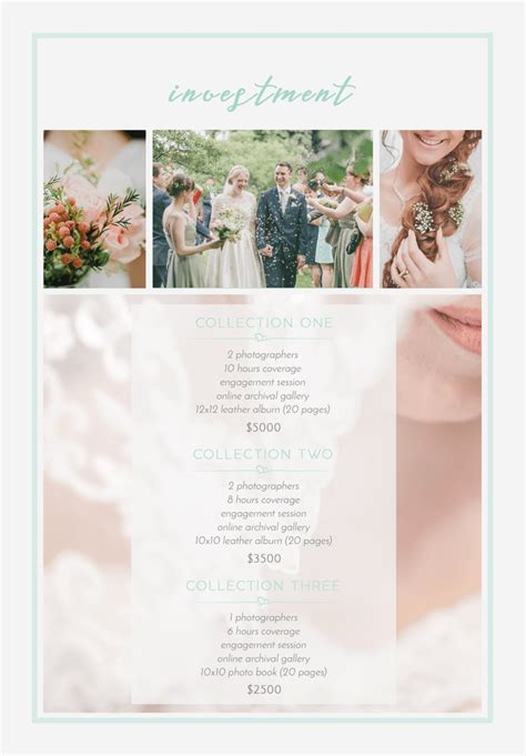 Free Pricing Guide Template For Wedding Photographers Free Wedding Pricing Template