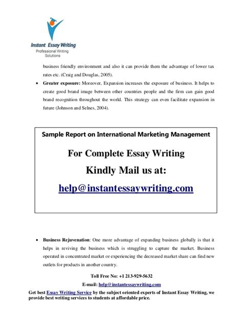 Instant Essay Writer by Sle On International Marketing Management By Instant Essay Writing