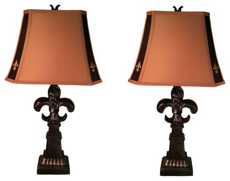 Dining Room Sets Glass Top by Fleur De Lis Lamp With Logo Shade Accents Set Of 2