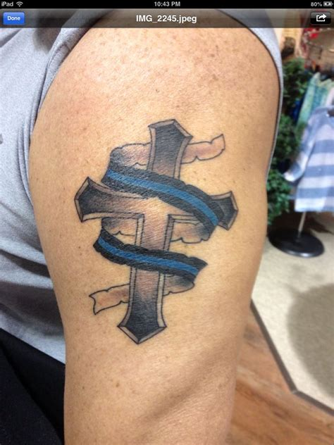 cross and flag tattoo thin blue line ta 2 from my three designs my style