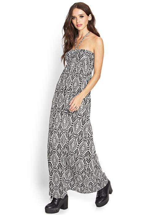 Tribal Maxy Dress lyst forever 21 tribal print maxi dress in black