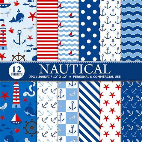 Papers For Card - buy 1 get 1 free 12 nautical digital scrapbook paper