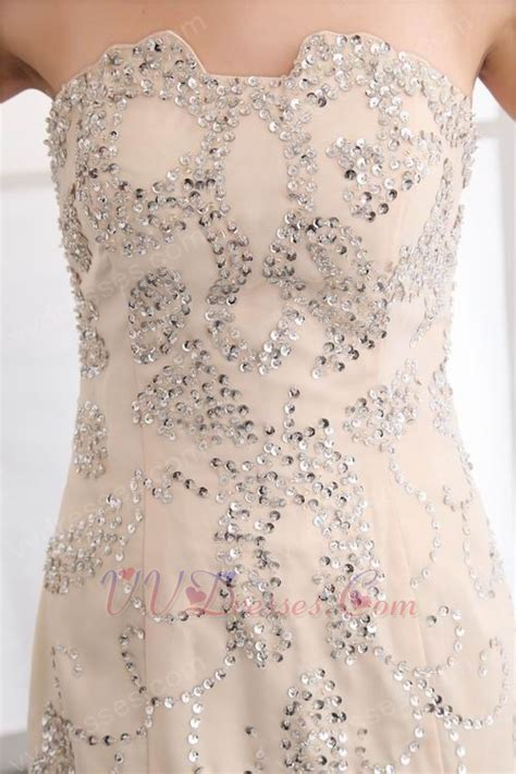 beaded fishtail dress gorgeous strapless beaded fishtail chagne evening dress
