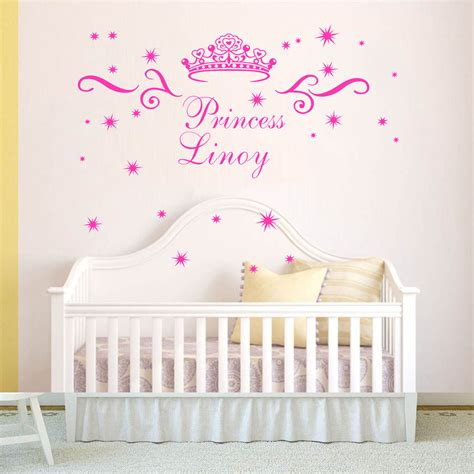 Princess Crown Wall Decal Vinyl Custom Name Girls Room Princess Wall Decals For Nursery