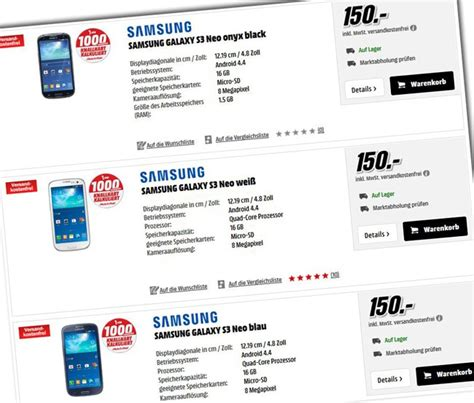 Akku Für Samsung Galaxy S3 675 by Flash News Media Markt Samsung Galaxy S3 Neo F 195 188 R 150