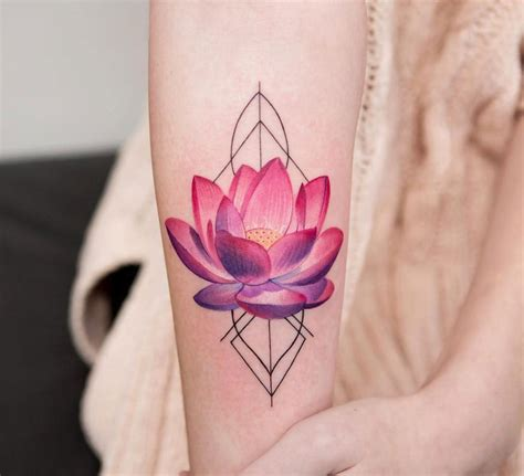 pink tattoo pink lotus flower on the arm tattoogrid net