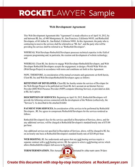 Agreement Letter For Website Freelance Contract Template Website Design Development