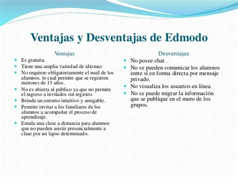 Edmodo Ventajas Y Desventajas | edmodo