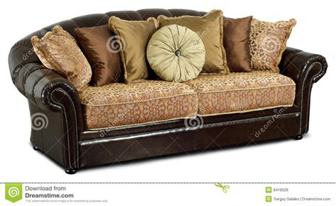 pillows on a leather couch the dark leather sofa with pillows royalty free stock